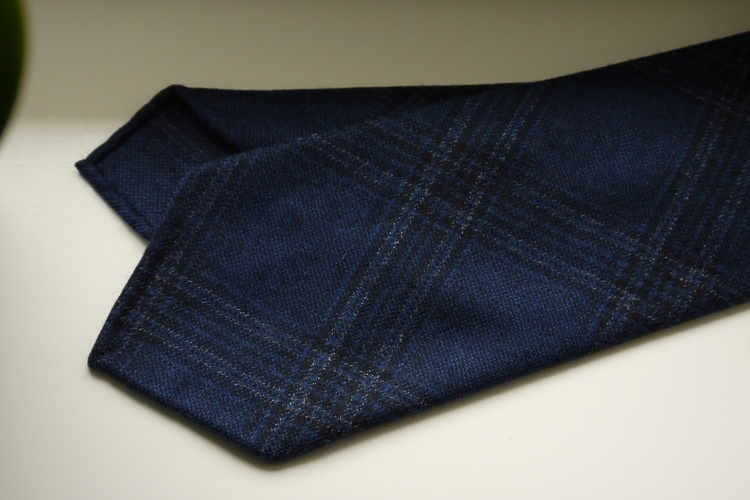 Glencheck Wool Tie - Untipped - Navy Blue/Mid Blue
