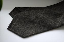Large Check Wool Tie - Untipped - Brown/Beige