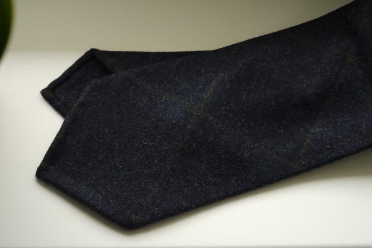 Large Check Wool Tie - Untipped - Navy Blue/Brown