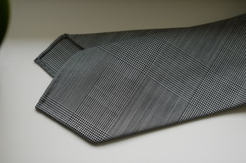 Large Glencheck Light Wool Tie - Untipped - Grey