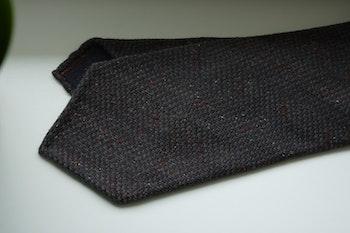 Large Herrinbone Wool Tie - Untipped - Navy Blue/Burgundy