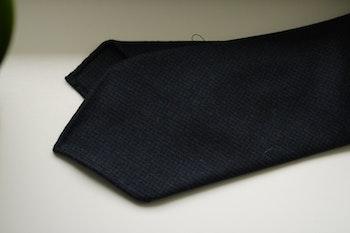 Micro Wool Tie - Untipped - Navy Blue