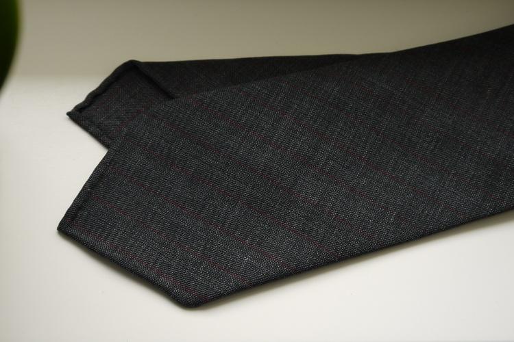 Regimental Light Wool Tie - Untipped - Dark Grey/Burgundy