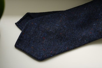 Solid Donegal Wool Tie - Untipped - Navy Blue