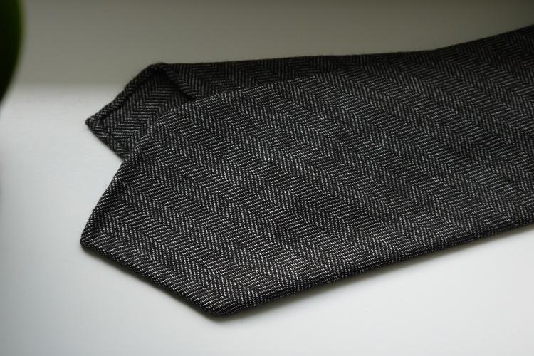 Herringbone Wool Tie - Untipped - Brown