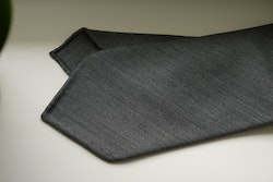 Herringbone Light Wool Tie - Untipped - Grey