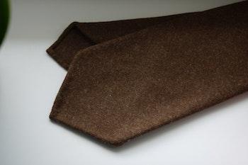 Solid Wool Flannel Tie - Untipped - Camel Brown