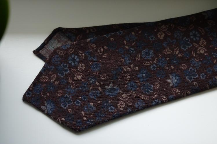 Floral Printed Wool Tie - Untipped - Rust/Navy Blue/Beige
