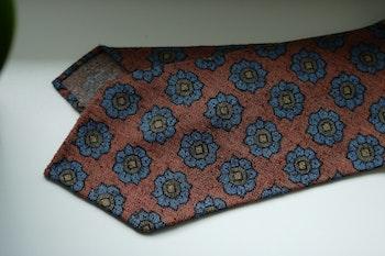 Large Floral Printed Wool Tie - Untipped - Orange/Light Blue/Beige