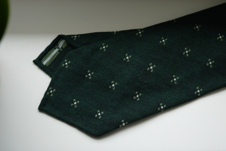 Floral Wool Tie - Untipped - Dark Green/Light Green/White