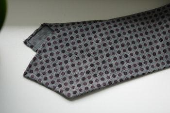Small Floral Printed Wool Tie - Untipped - Grey/Pink
