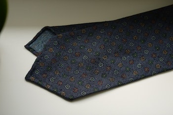 Small Floral Printed Wool Tie - Untipped - Navy Blue/Yellow/Red/Green