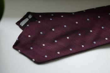 Floral Wool Tie - Untipped - Burgundy/White/Light Blue