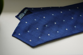 Floral Wool Tie - Untipped - Mid Blue/White/Light Blue