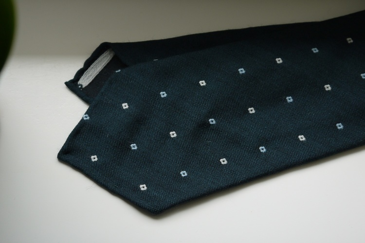 Floral Wool Tie - Untipped - Green/White/Light Blue
