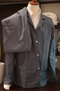 Solid Flannel Pyjamas - Mid Navy Blue
