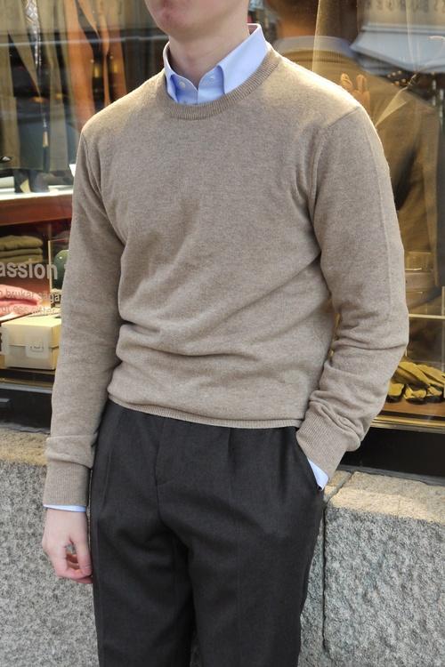 Crewneck Lambswool Pullover - Beige