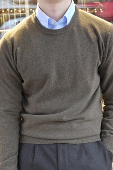 Crewneck Lambswool Pullover - Brown