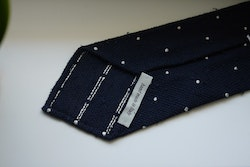 Polka Dot Shantung Grenadine Tie - Untipped - Navy Blue/White