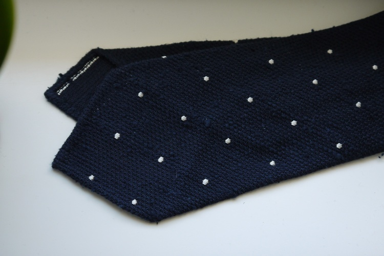 Polka Dot Shantung Grenadine Tie - Untipped - Navy Blue/White