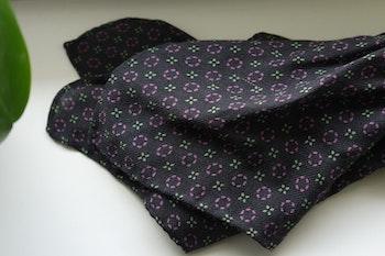 Floral Wool Pocket Square - Black/Green/Purple