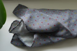 Floral Wool Pocket Square - Grey/Red/Yellow
