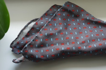 Stripe Wool Pocket Square - Grey/Light Blue/Red