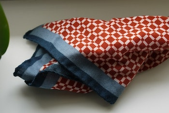 Square Wool Pocket Square - Rust/White/Grey/Navy Blue