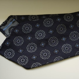 Medallion Silk Tie - Untipped - Navy Blue/Grey/Light Blue