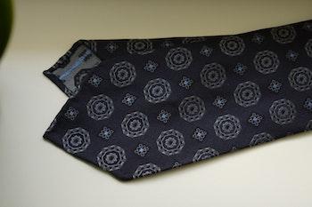 Medallion Silk Tie - Untipped - Navy Blue/Grey/Light Blue