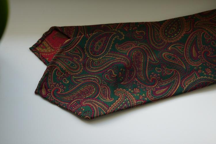 Paisley Silk Tie - Untipped - Green/Orange/Burgundy