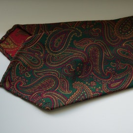 Paisley Silk Tie - Untipped - Green/Orange/Burgundy