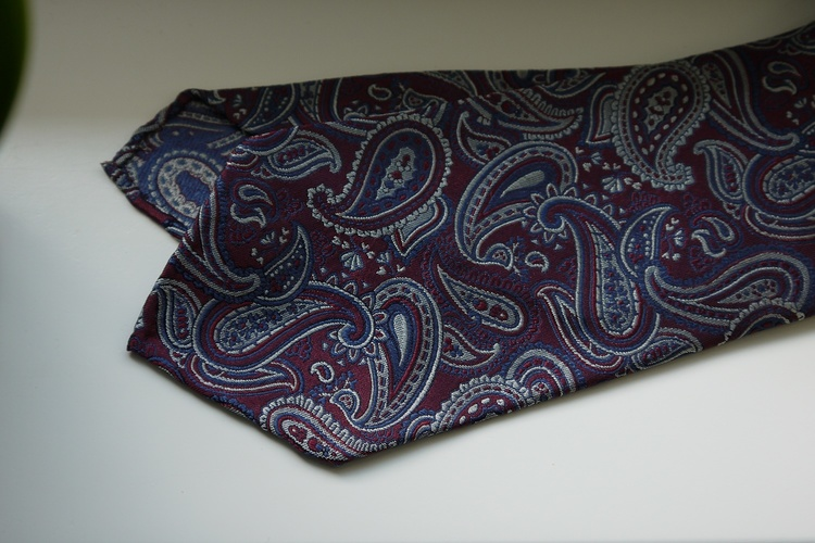 Paisley Silk Tie - Untipped - Navy Blue/Burgundy/Grey