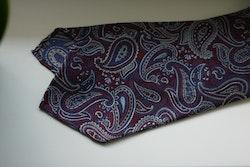 Paisley Silk Tie - Untipped - Navy Blue/Burgundy/Grey