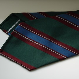 Regimental Silk Tie - Untipped - Green/Burgundy/Light Blue