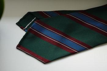 Regimental Silk Tie - Untipped - Green/Burgundy/Light Blue