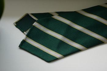 Regimental Silk Tie - Untipped - Green/White/Gold