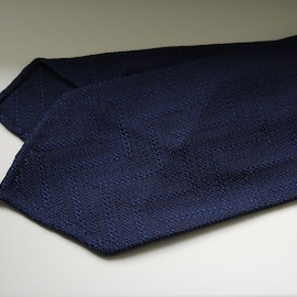 Solid Zigzag Garza Silk Tie - Untipped - Navy Blue