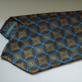 Star Silk Tie - Untipped - Yellow/Light Blue