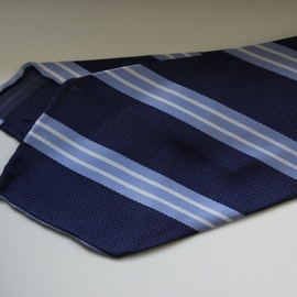 Regimental Silk Tie - Untipped - Navy Blue/Light Blue
