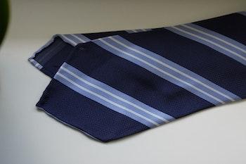 Regimental Silk Tie - Untipped - Navy Blue/Light Blue