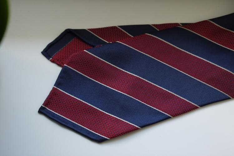 Regimental Garza Silk Tie - Untipped - Navy Blue/Burgundy