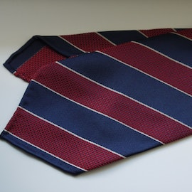 Regimental Garza Silk Tie - Untipped - Navy Blue/Burgundy