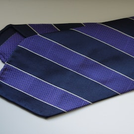 Regimental Garza Silk Tie - Untipped - Navy Blue/Purple