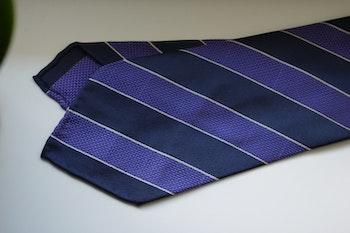 Regimental Garza Silk Tie - Untipped - Navy Blue/Purple
