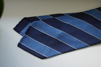 Regimental Garza Silk Tie - Untipped - Navy Blue/Light Blue