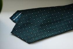 Floral Silk Tie - Untipped - Navy Blue/Aqua Green