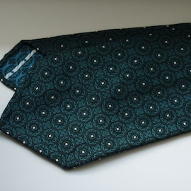 Floral Silk Tie - Untipped - Navy Blue/Aqua Green