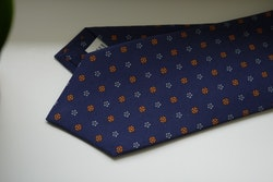 Madder Silk Printed Floral - Navy Blue/Orange