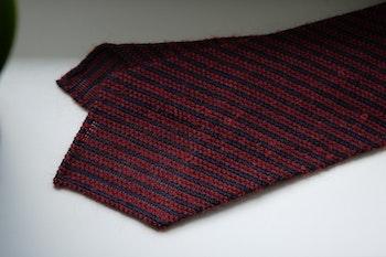 Regimental Wool Grenadine Tie - Untipped - Navy Blue/Burgundy